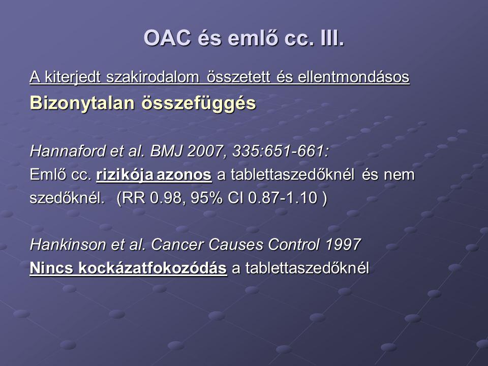 OAC és emlő cc. III. Bizonytalan összefüggés
