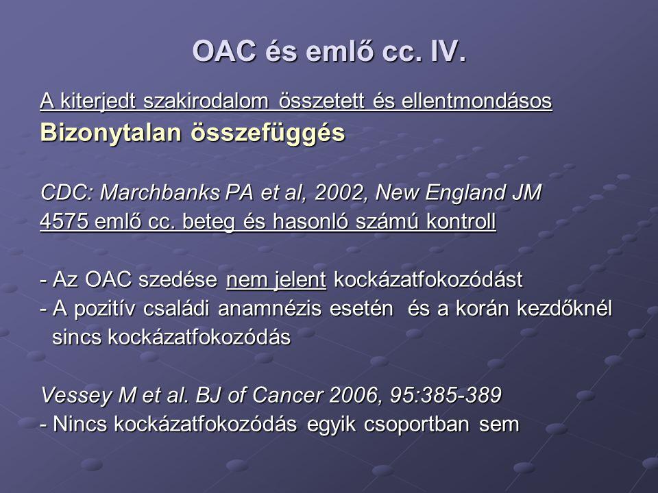 OAC és emlő cc. IV. Bizonytalan összefüggés