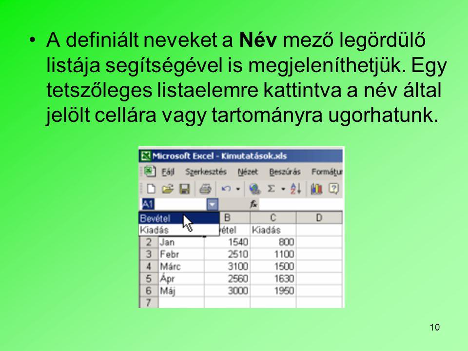 A definiált neveket a Név mező legördülő listája segítségével is megjeleníthetjük.