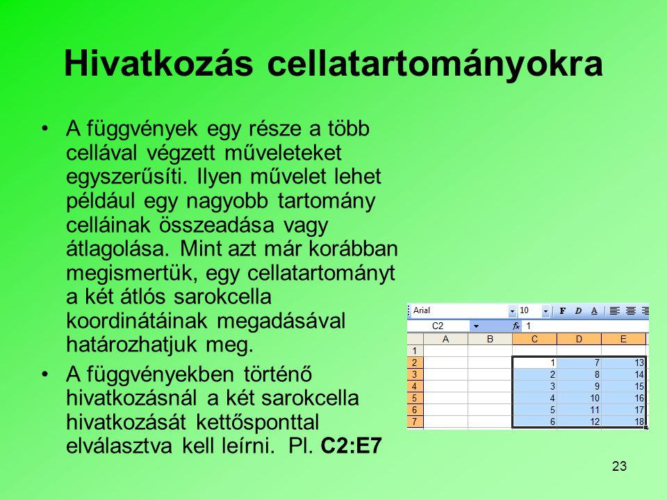 Hivatkozás cellatartományokra