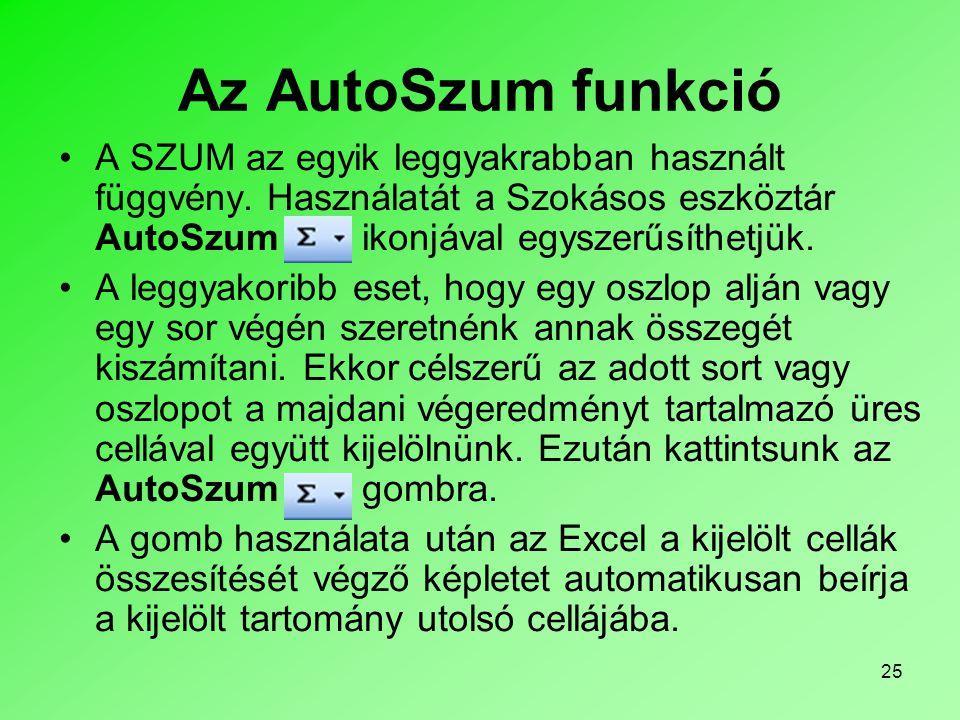 Az AutoSzum funkció A SZUM az egyik leggyakrabban használt függvény. Használatát a Szokásos eszköztár AutoSzum ikonjával egyszerűsíthetjük.