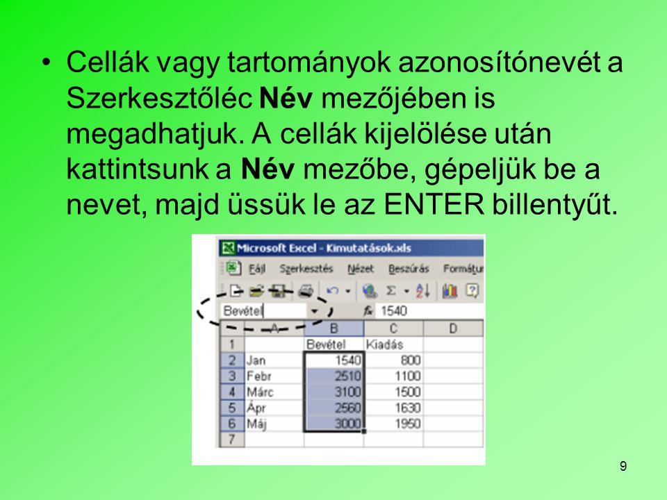 Cellák vagy tartományok azonosítónevét a Szerkesztőléc Név mezőjében is megadhatjuk.