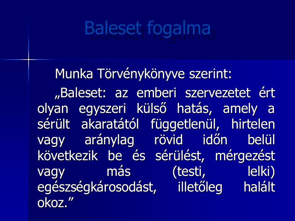 Baleset fogalma Munka Törvénykönyve szerint: