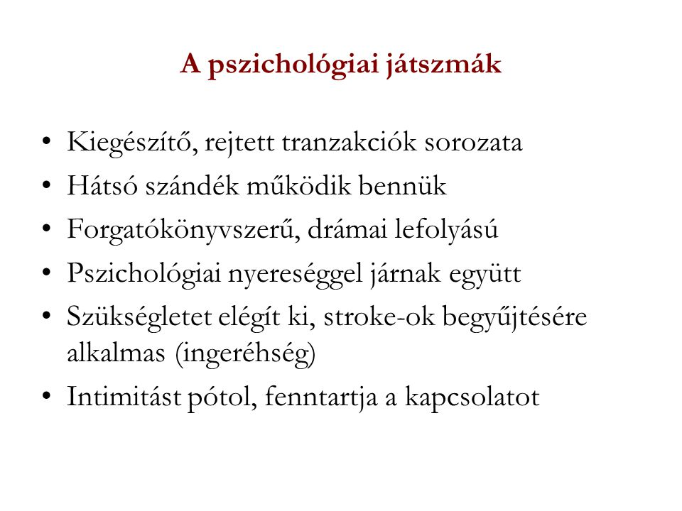 A pszichológiai játszmák