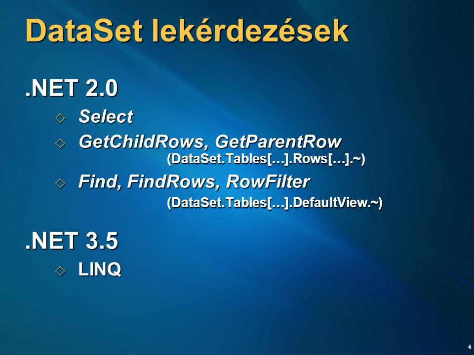 DataSet lekérdezések .NET 2.0 .NET 3.5 Select