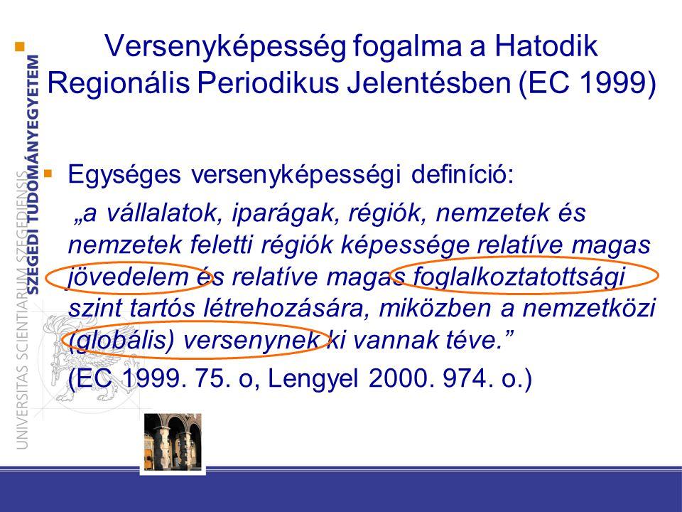 Versenyképesség fogalma a Hatodik Regionális Periodikus Jelentésben (EC 1999)
