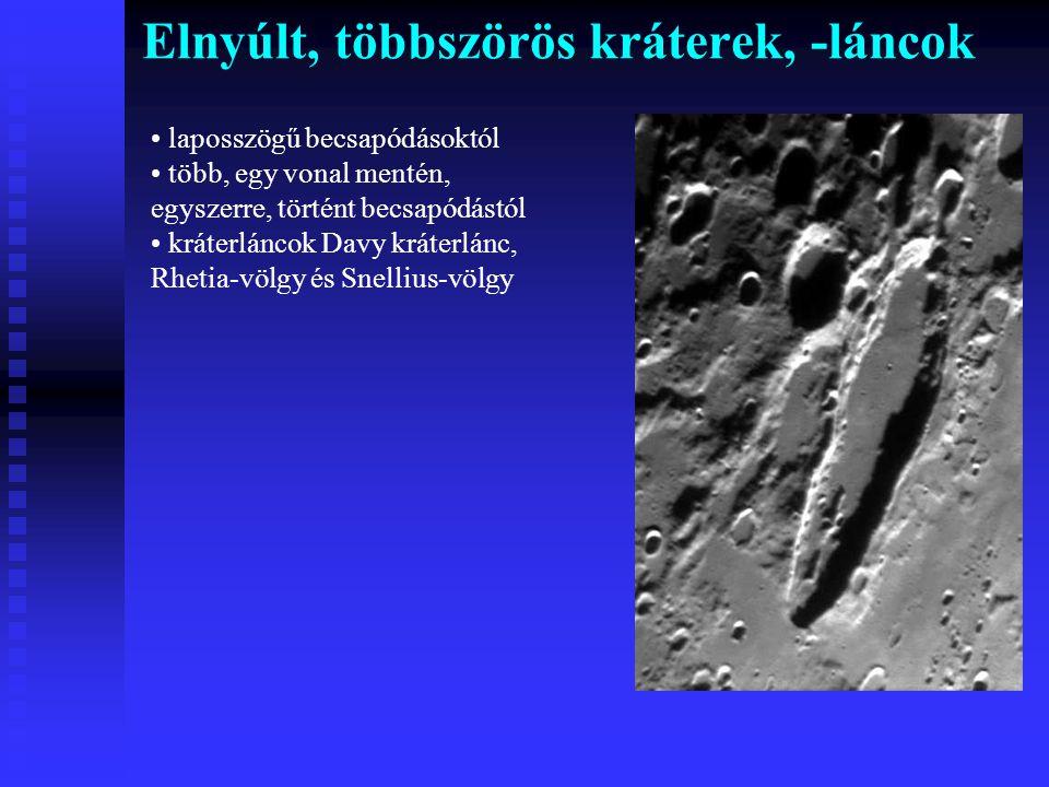 Elnyúlt, többszörös kráterek, -láncok