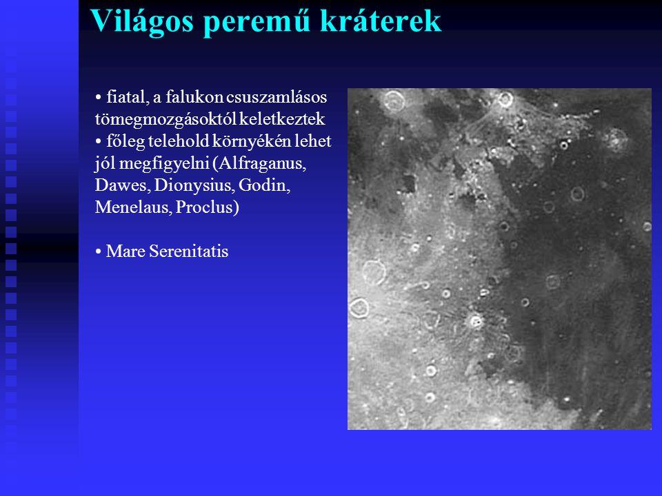 Világos peremű kráterek