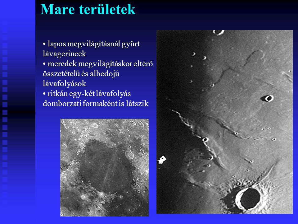 Mare területek lapos megvilágításnál gyűrt lávagerincek
