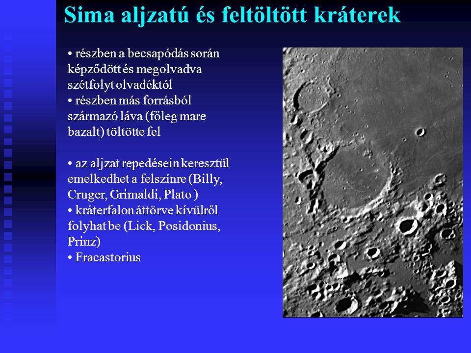 Sima aljzatú és feltöltött kráterek