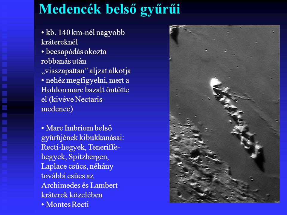 Medencék belső gyűrűi kb. 140 km-nél nagyobb krátereknél