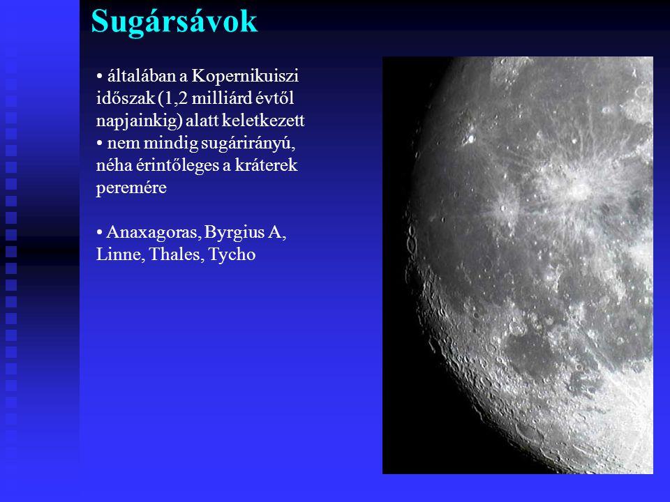 Sugársávok általában a Kopernikuiszi időszak (1,2 milliárd évtől napjainkig) alatt keletkezett.