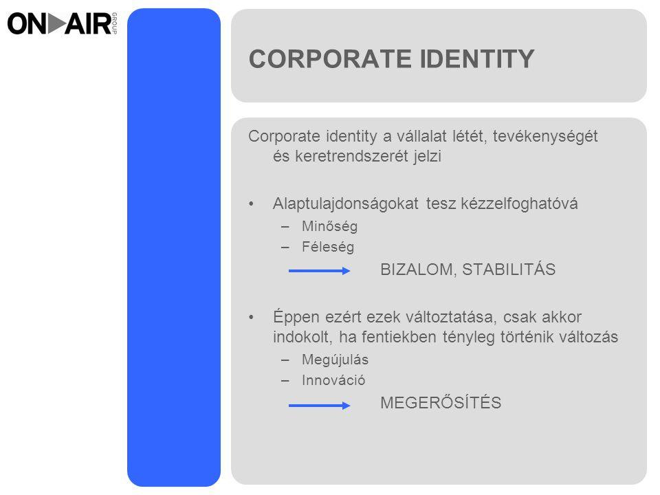 CORPORATE IDENTITY Corporate identity a vállalat létét, tevékenységét és keretrendszerét jelzi. Alaptulajdonságokat tesz kézzelfoghatóvá.