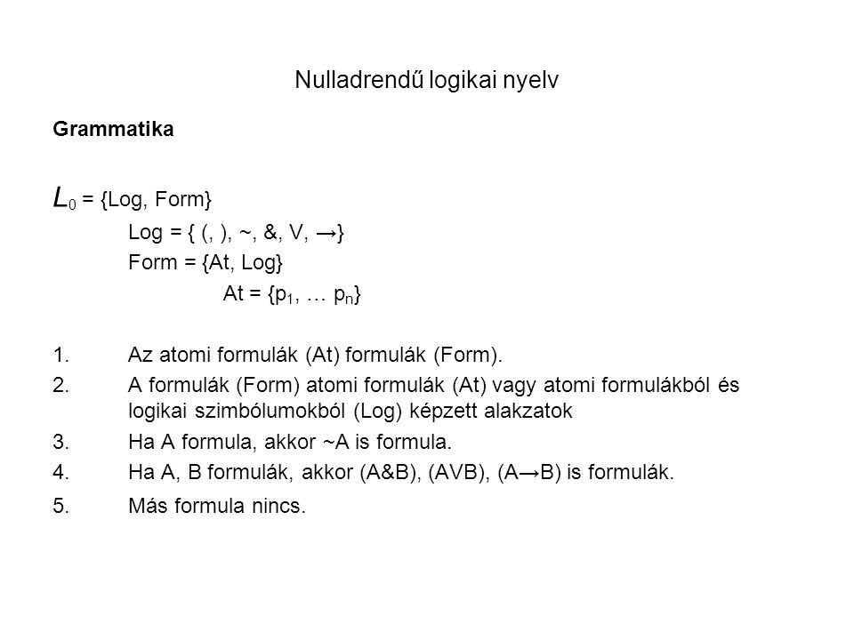 Nulladrendű logikai nyelv