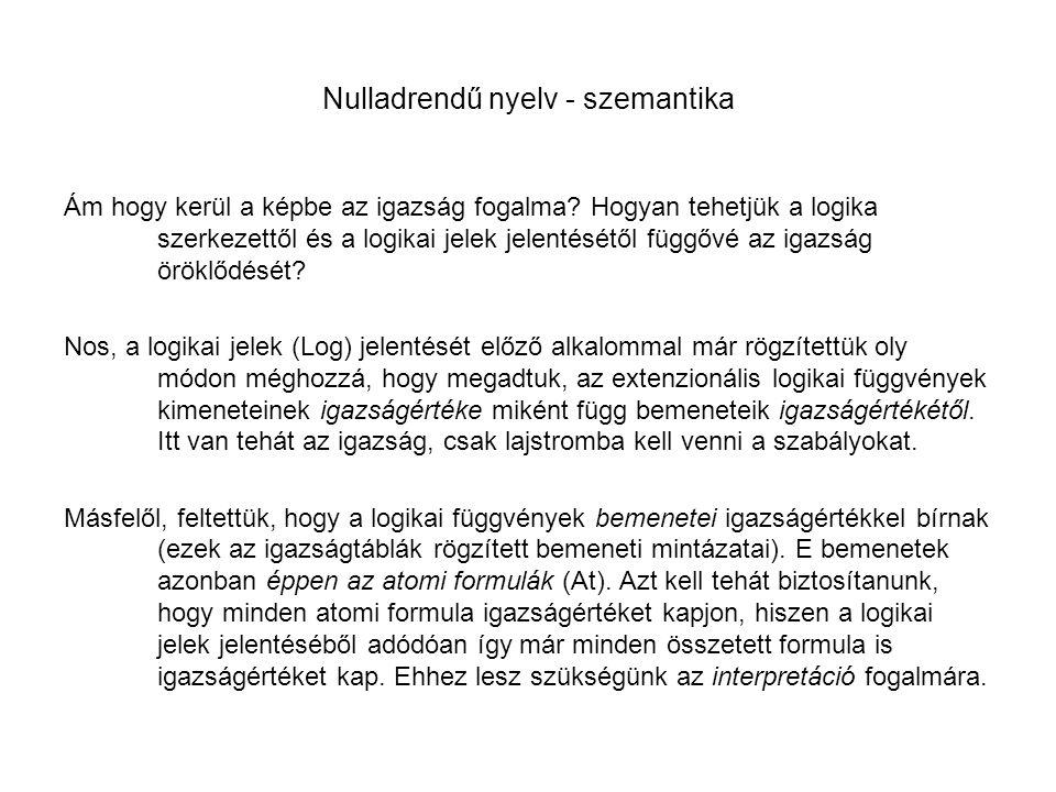 Nulladrendű nyelv - szemantika