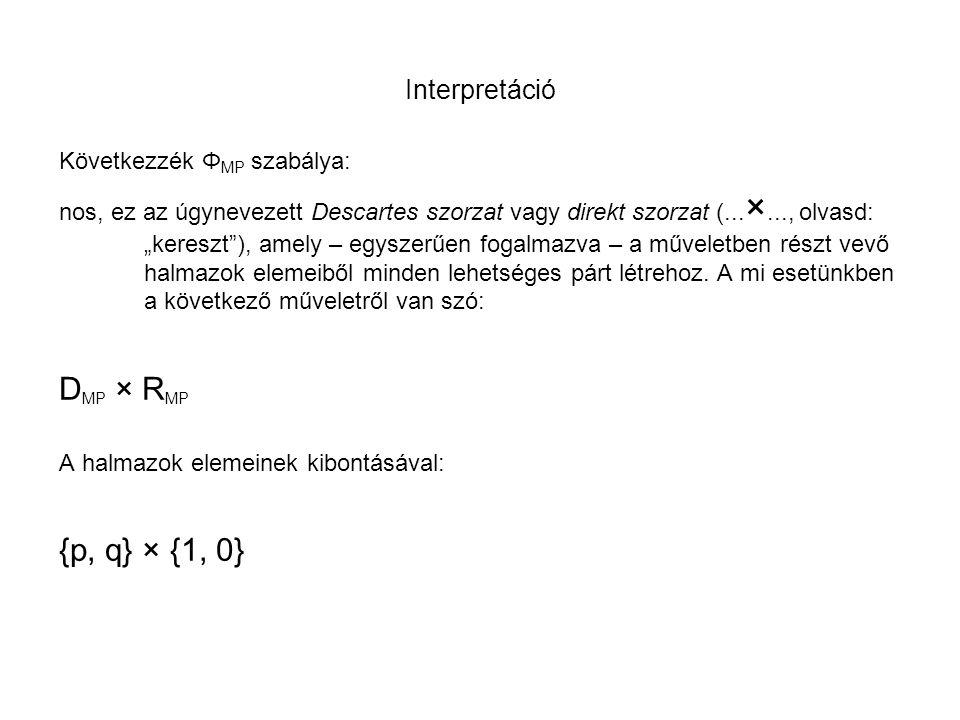 DMP × RMP {p, q} × {1, 0} Interpretáció Következzék ΦMP szabálya:
