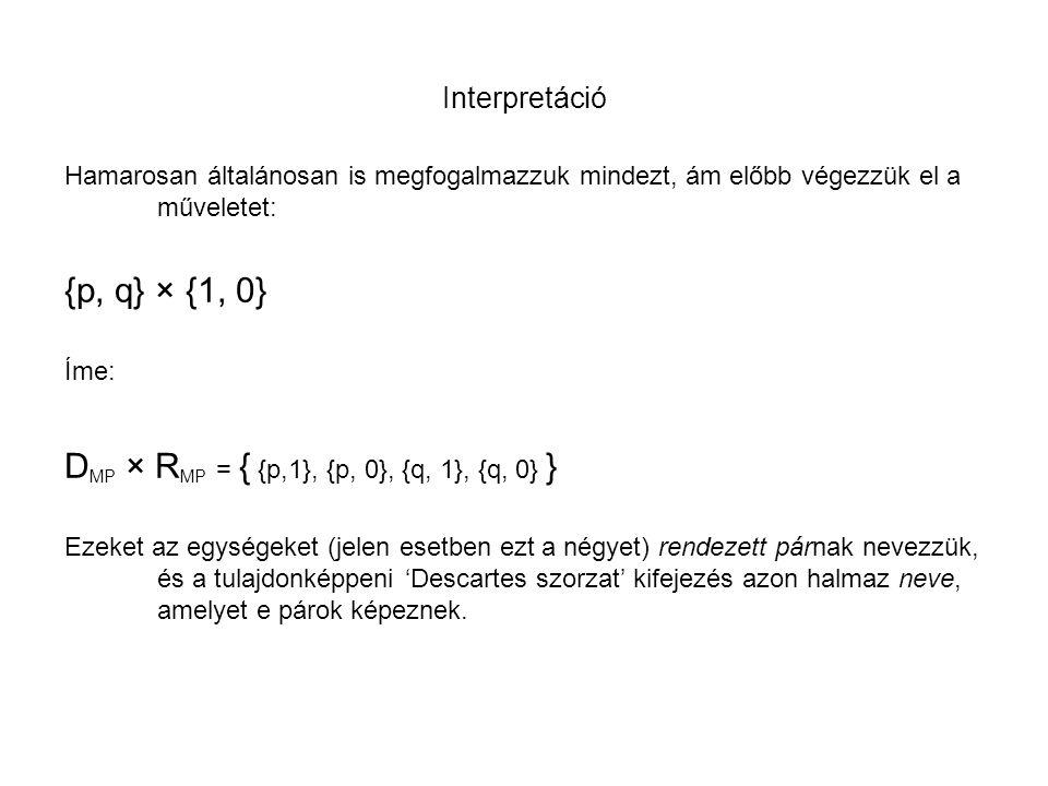 DMP × RMP = { {p,1}, {p, 0}, {q, 1}, {q, 0} }