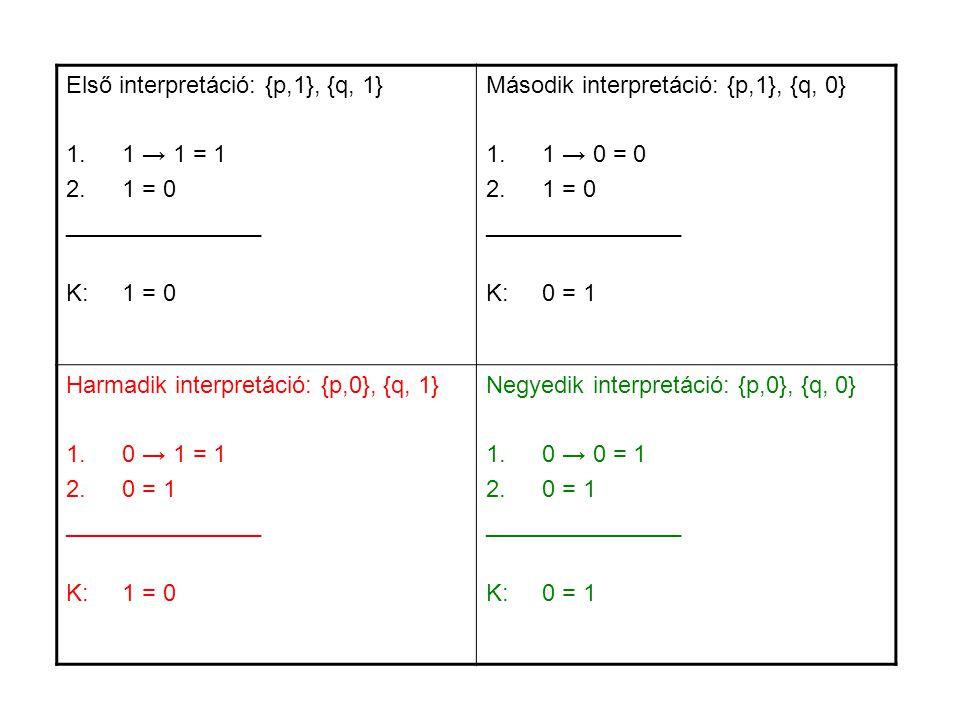 Első interpretáció: {p,1}, {q, 1} 1 → 1 = 1 1 = 0 _______________
