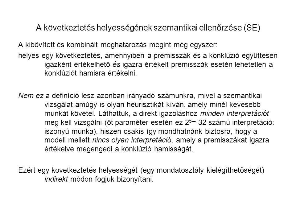 A következtetés helyességének szemantikai ellenőrzése (SE)