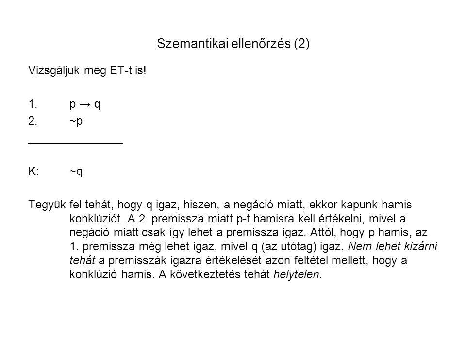 Szemantikai ellenőrzés (2)