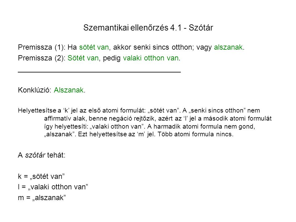 Szemantikai ellenőrzés 4.1 - Szótár