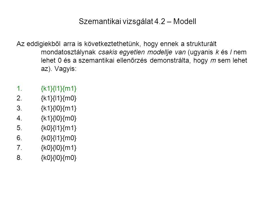 Szemantikai vizsgálat 4.2 – Modell