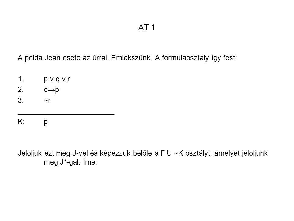 AT 1 A példa Jean esete az úrral. Emlékszünk. A formulaosztály így fest: p v q v r. q→p. ~r. ________________________.