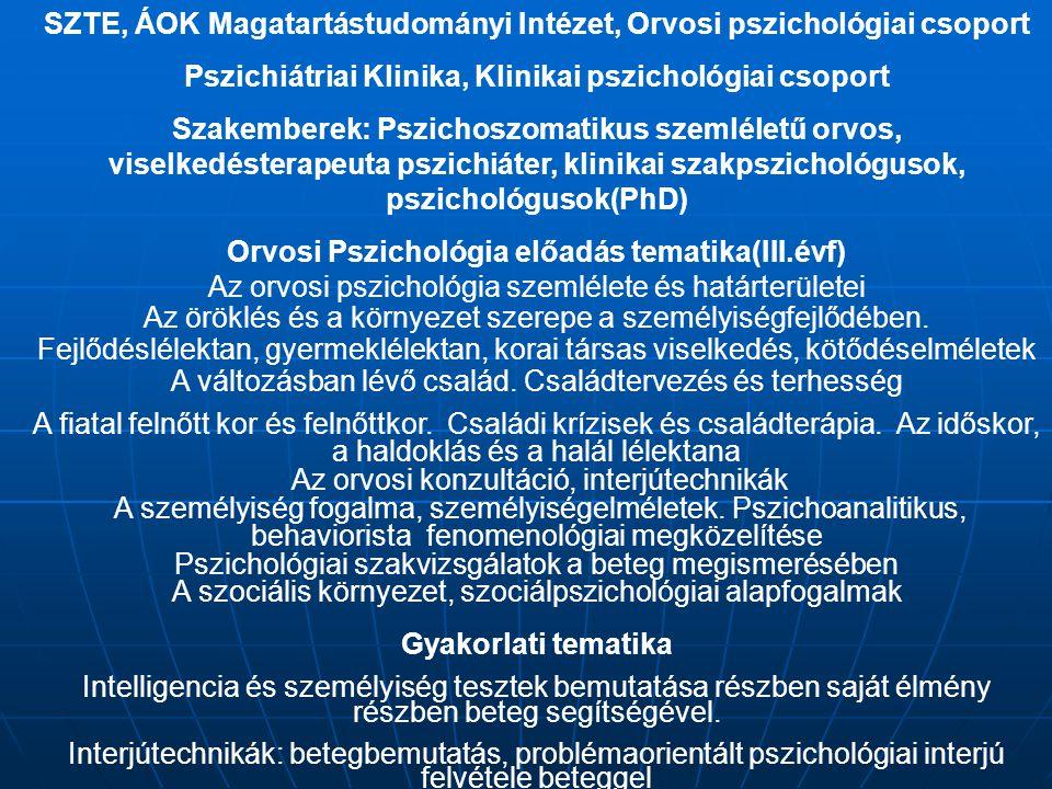 SZTE, ÁOK Magatartástudományi Intézet, Orvosi pszichológiai csoport