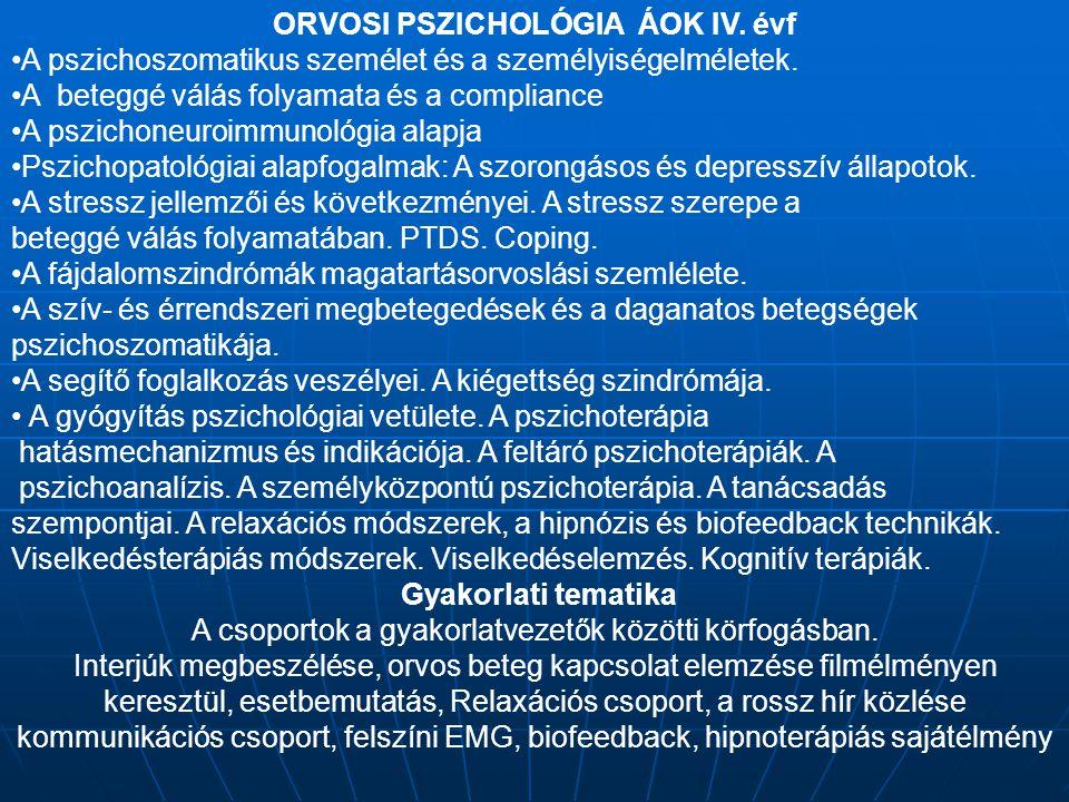 ORVOSI PSZICHOLÓGIA ÁOK IV. évf