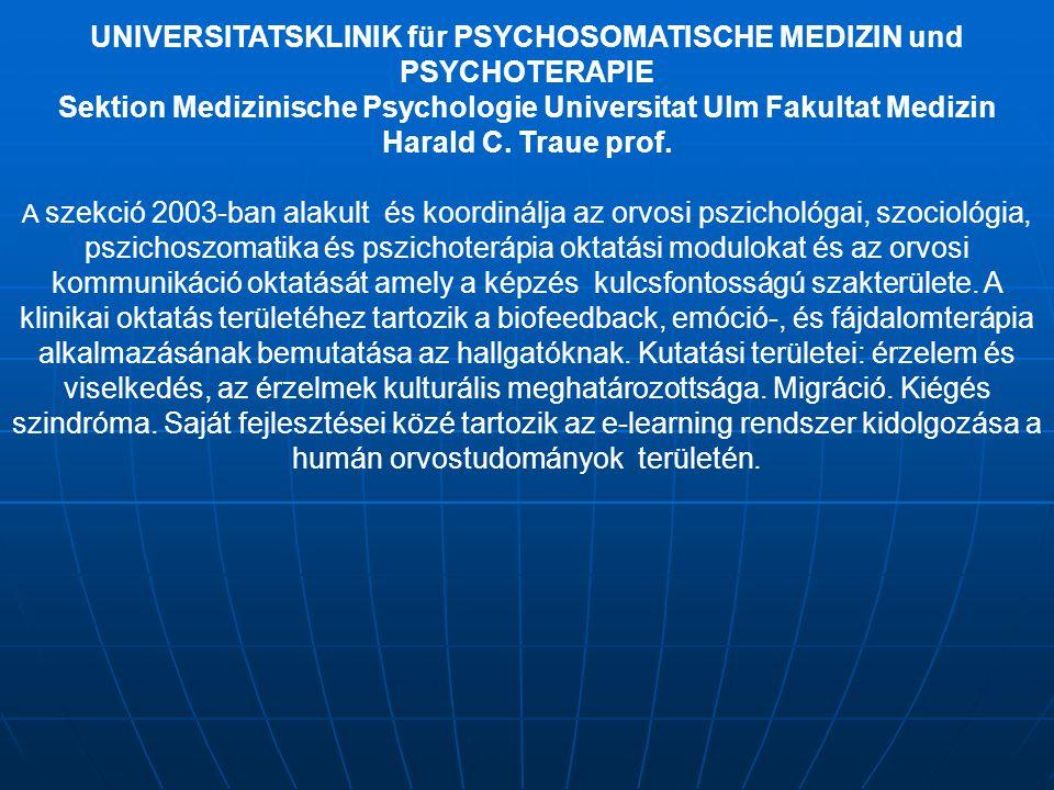 UNIVERSITATSKLINIK für PSYCHOSOMATISCHE MEDIZIN und PSYCHOTERAPIE