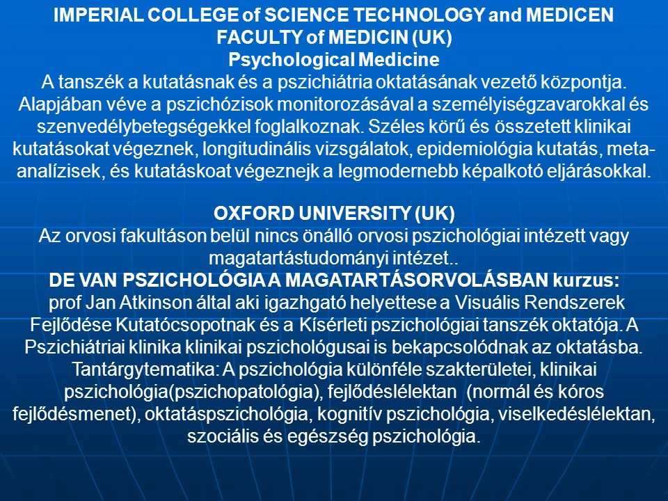 IMPERIAL COLLEGE of SCIENCE TECHNOLOGY and MEDICEN