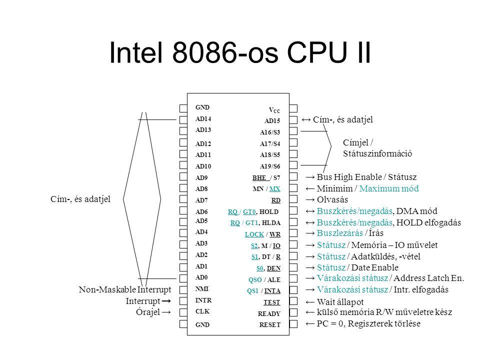 Intel 8086-os CPU II ↔ Cím-, és adatjel Címjel / Státuszinformáció