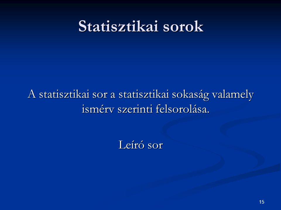 Statisztikai sorok A statisztikai sor a statisztikai sokaság valamely ismérv szerinti felsorolása.