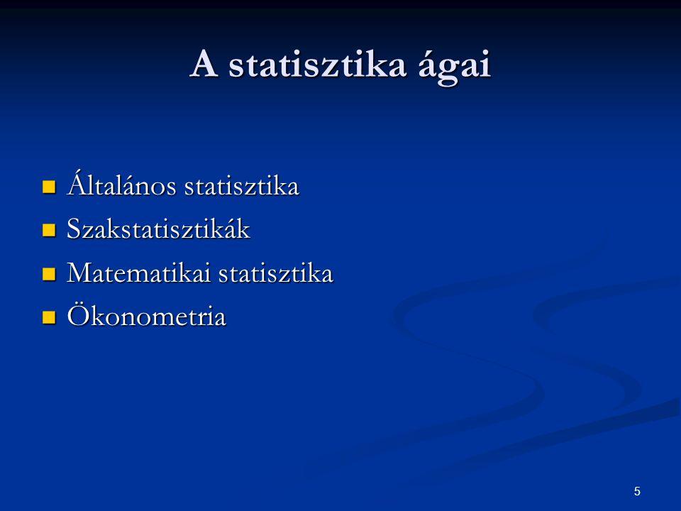 A statisztika ágai Általános statisztika Szakstatisztikák