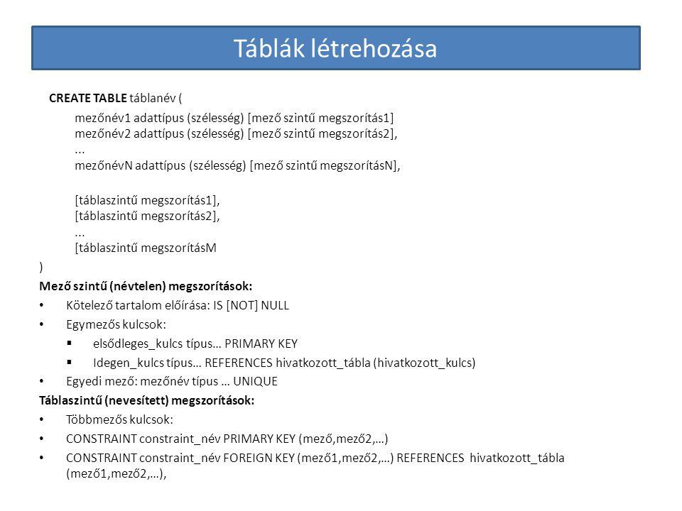 Táblák létrehozása CREATE TABLE táblanév (