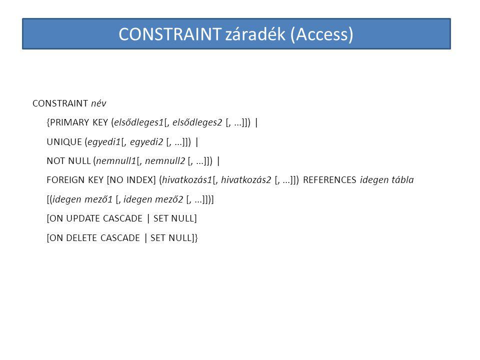 CONSTRAINT záradék (Access)