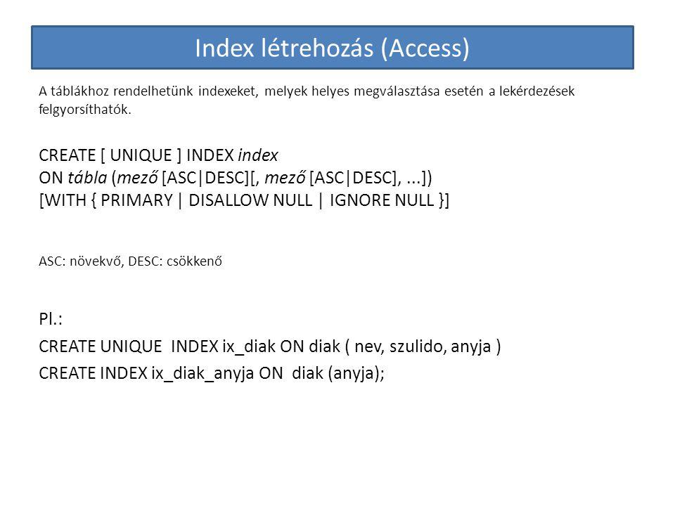 Index létrehozás (Access)