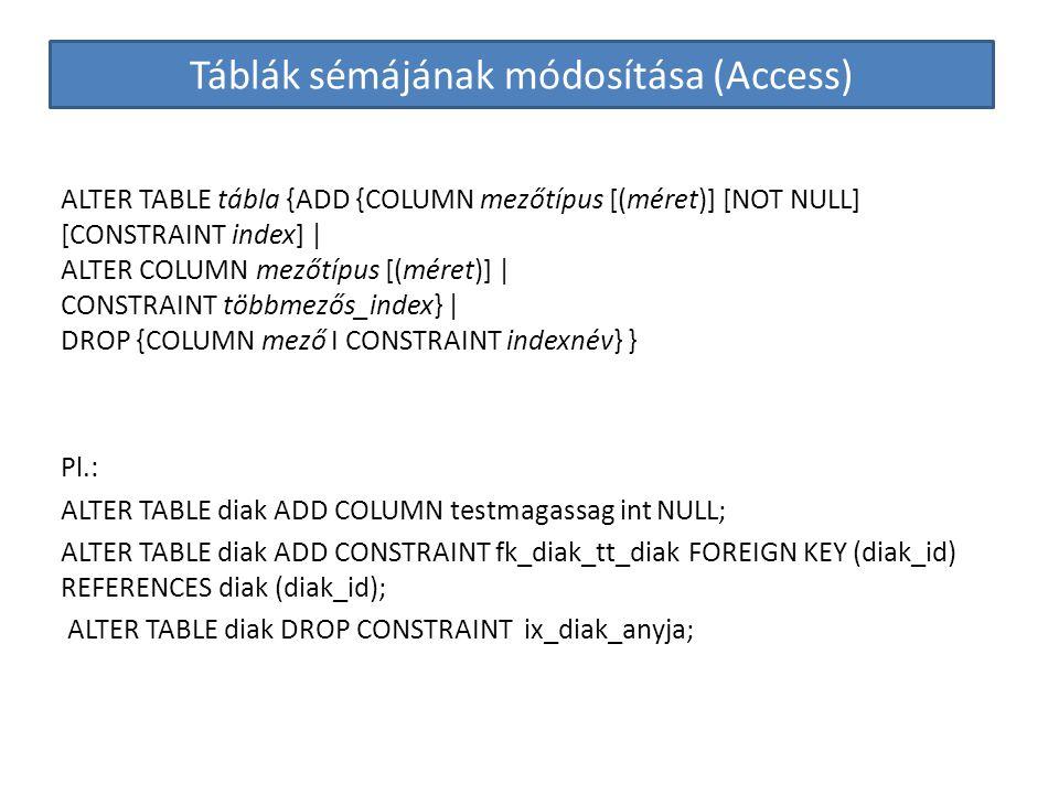 Táblák sémájának módosítása (Access)