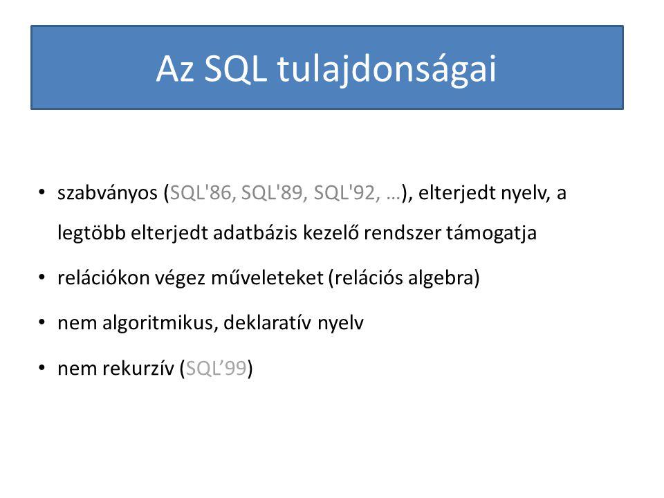 Az SQL tulajdonságai szabványos (SQL 86, SQL 89, SQL 92, …), elterjedt nyelv, a legtöbb elterjedt adatbázis kezelő rendszer támogatja.