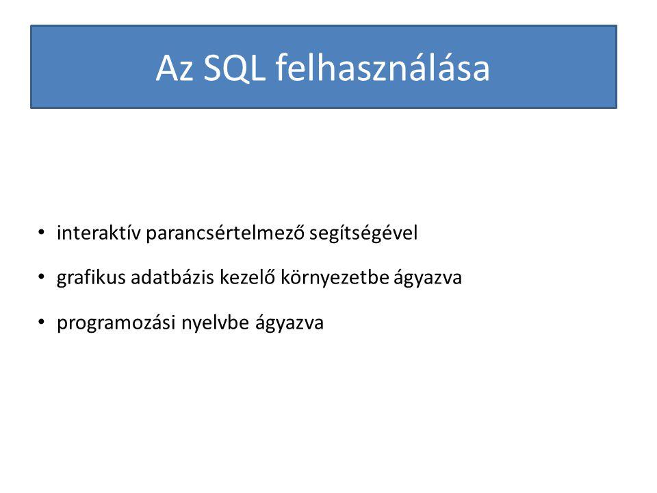 Az SQL felhasználása interaktív parancsértelmező segítségével