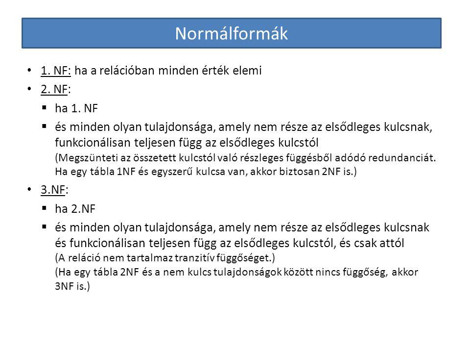 Normálformák 1. NF: ha a relációban minden érték elemi 2. NF: ha 1. NF