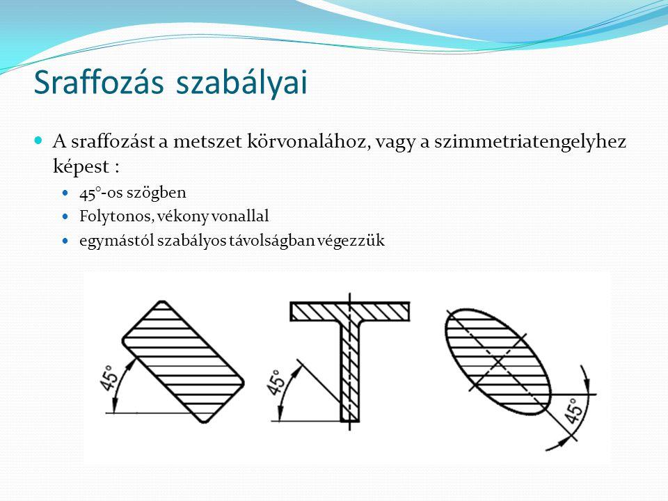 Sraffozás szabályai A sraffozást a metszet körvonalához, vagy a szimmetriatengelyhez képest : 45°-os szögben.