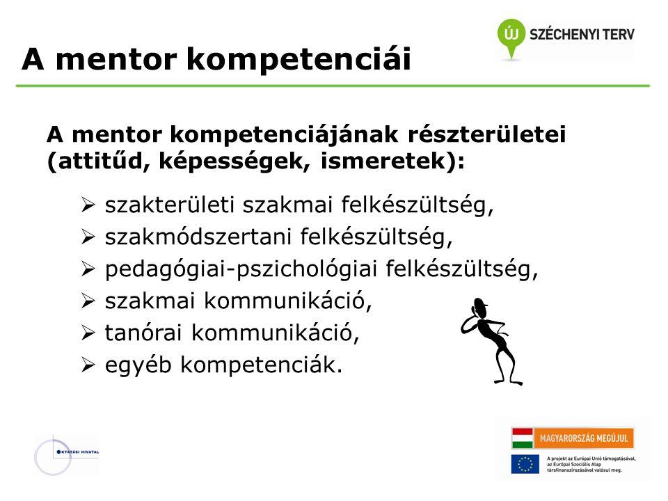 A mentor kompetenciái A mentor kompetenciájának részterületei (attitűd, képességek, ismeretek): szakterületi szakmai felkészültség,