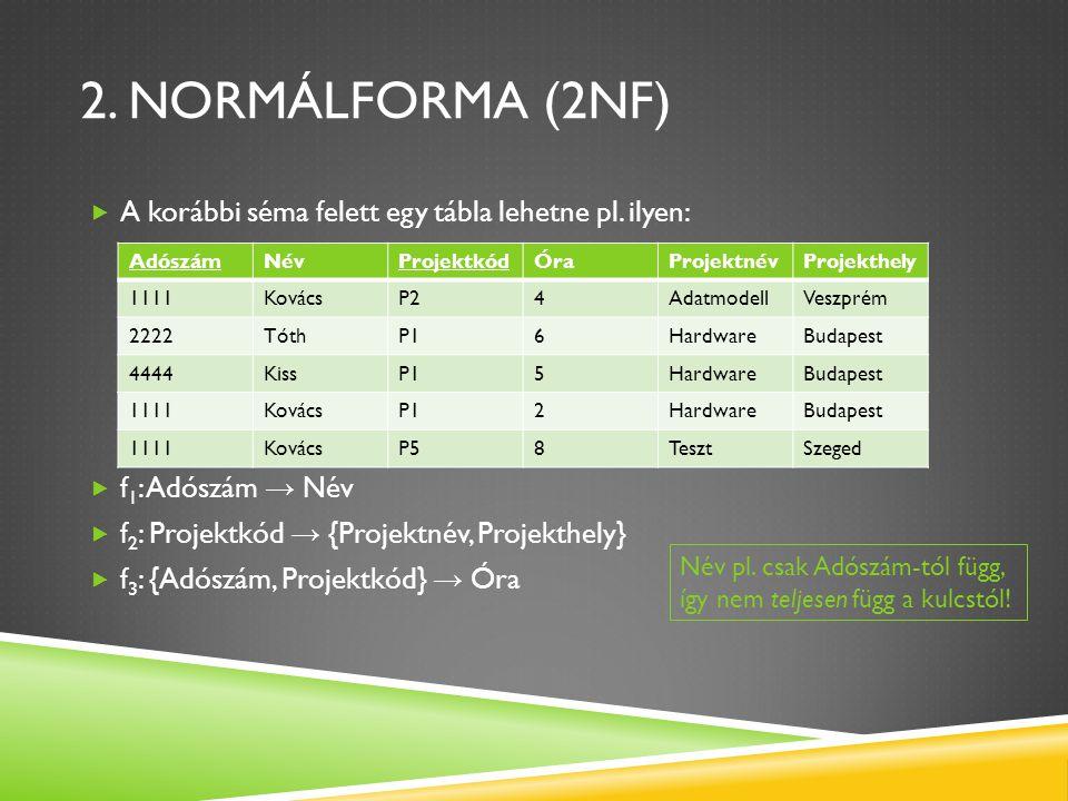 2. Normálforma (2NF) A korábbi séma felett egy tábla lehetne pl. ilyen: f1: Adószám → Név. f2: Projektkód → {Projektnév, Projekthely}