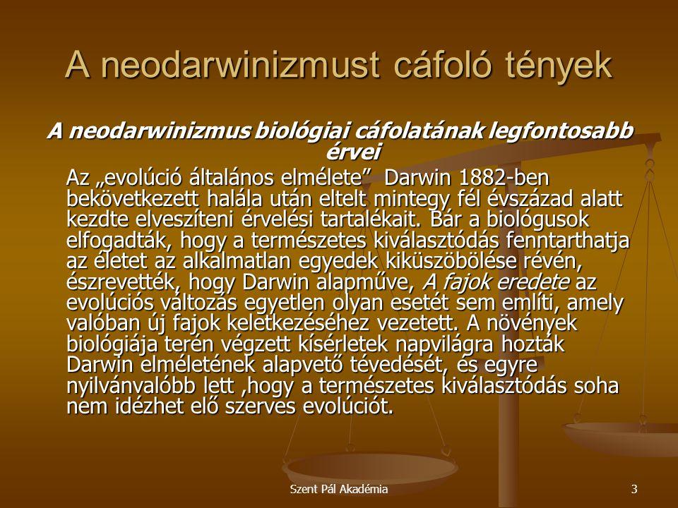 A neodarwinizmust cáfoló tények