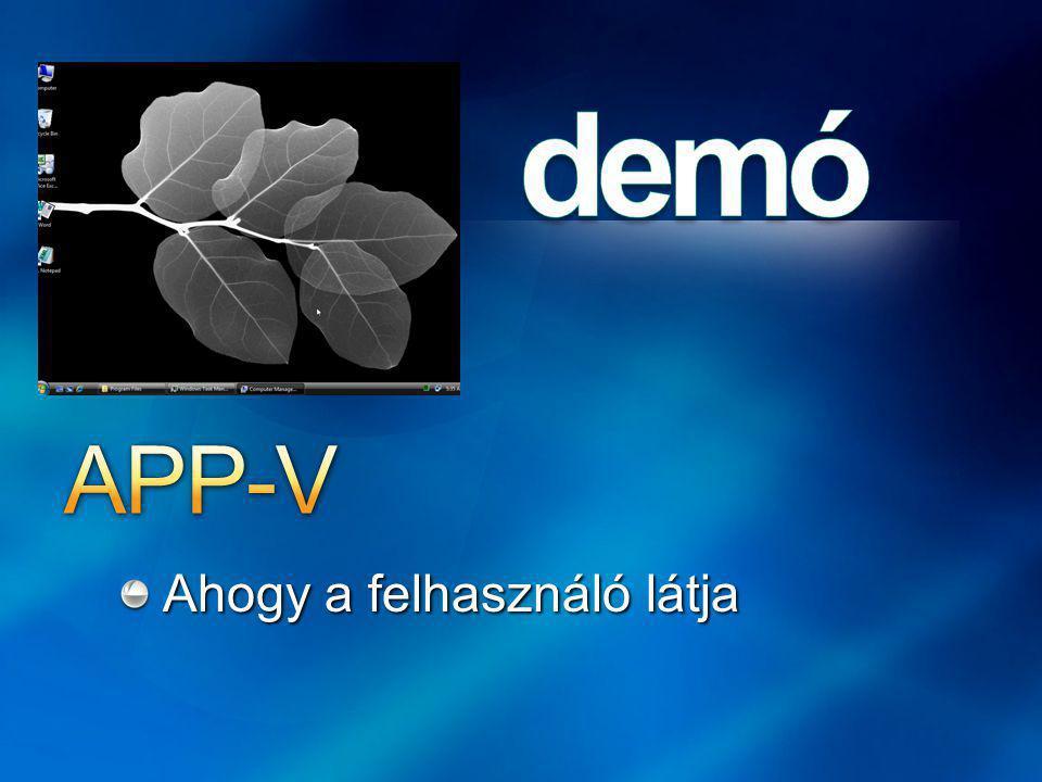 APP-V Ahogy a felhasználó látja