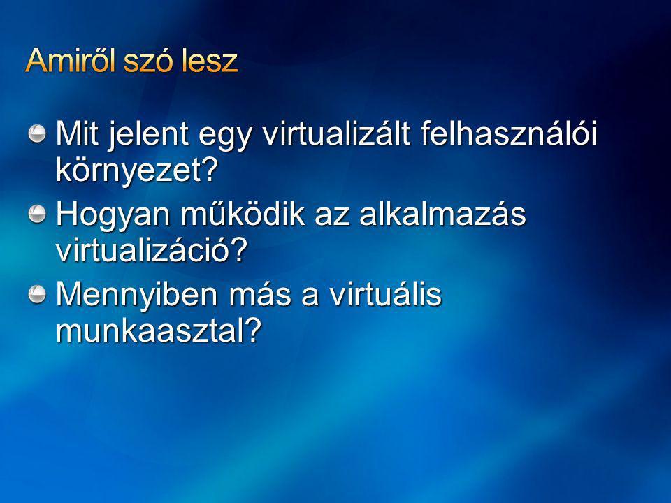Amiről szó lesz Mit jelent egy virtualizált felhasználói környezet Hogyan működik az alkalmazás virtualizáció