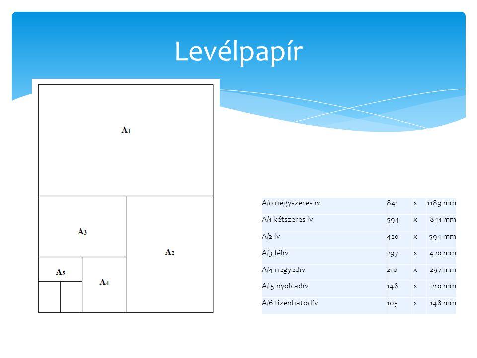 Levélpapír A/0 négyszeres ív 841 x 1189 mm A/1 kétszeres ív 594 841 mm