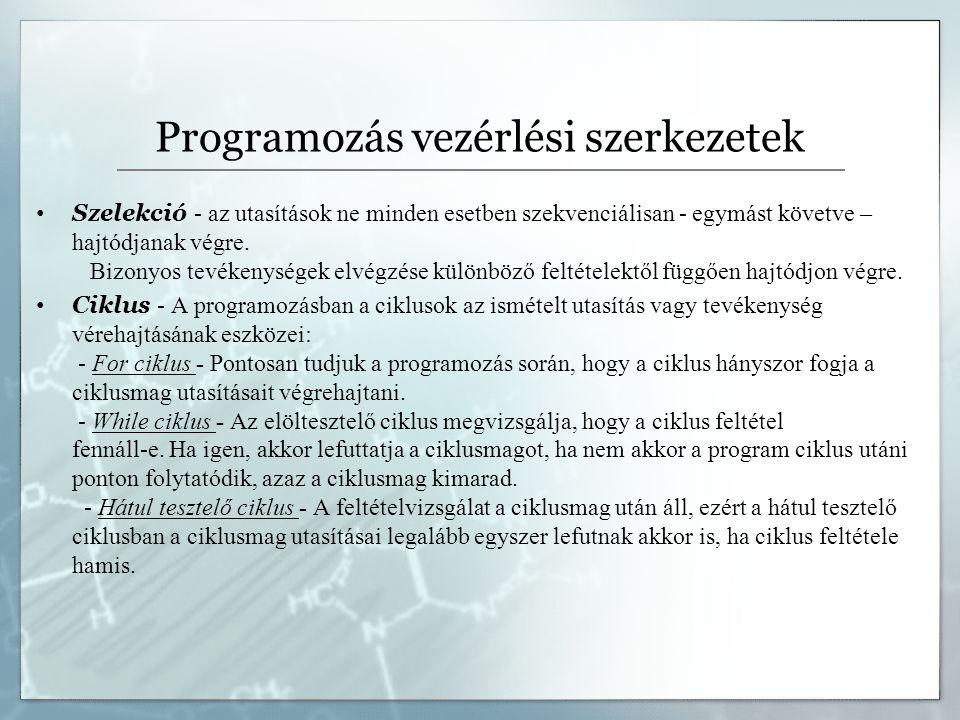 Programozás vezérlési szerkezetek