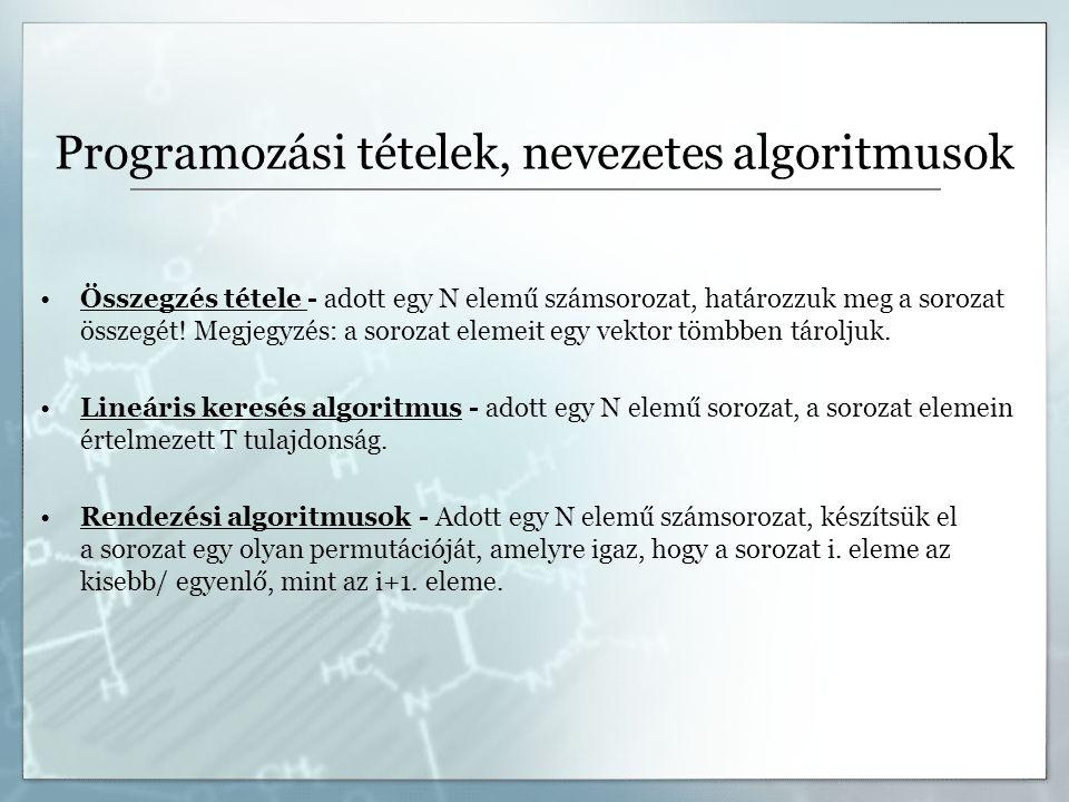 Programozási tételek, nevezetes algoritmusok